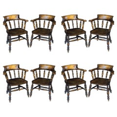 Set of Eight English Bow Armchairs