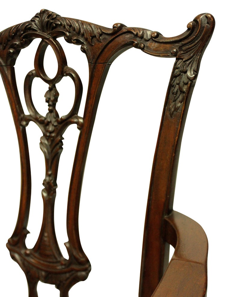 Set of Eight English Chippendale Style Carved Mahogany Dining Chairs 7