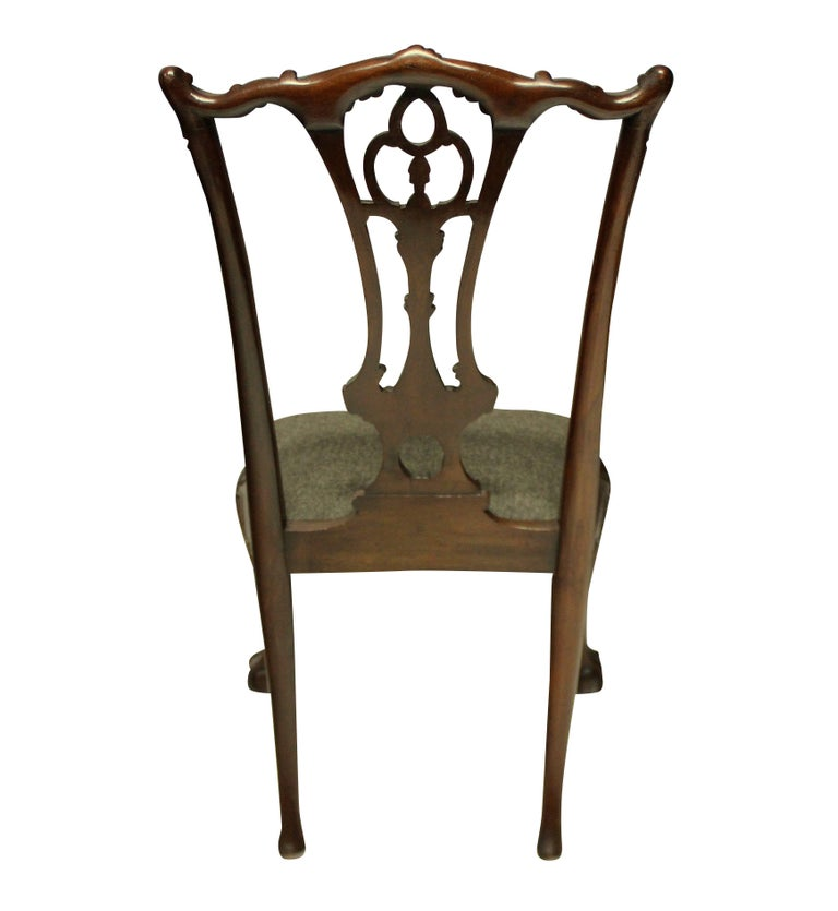 Set of Eight English Chippendale Style Carved Mahogany Dining Chairs 1