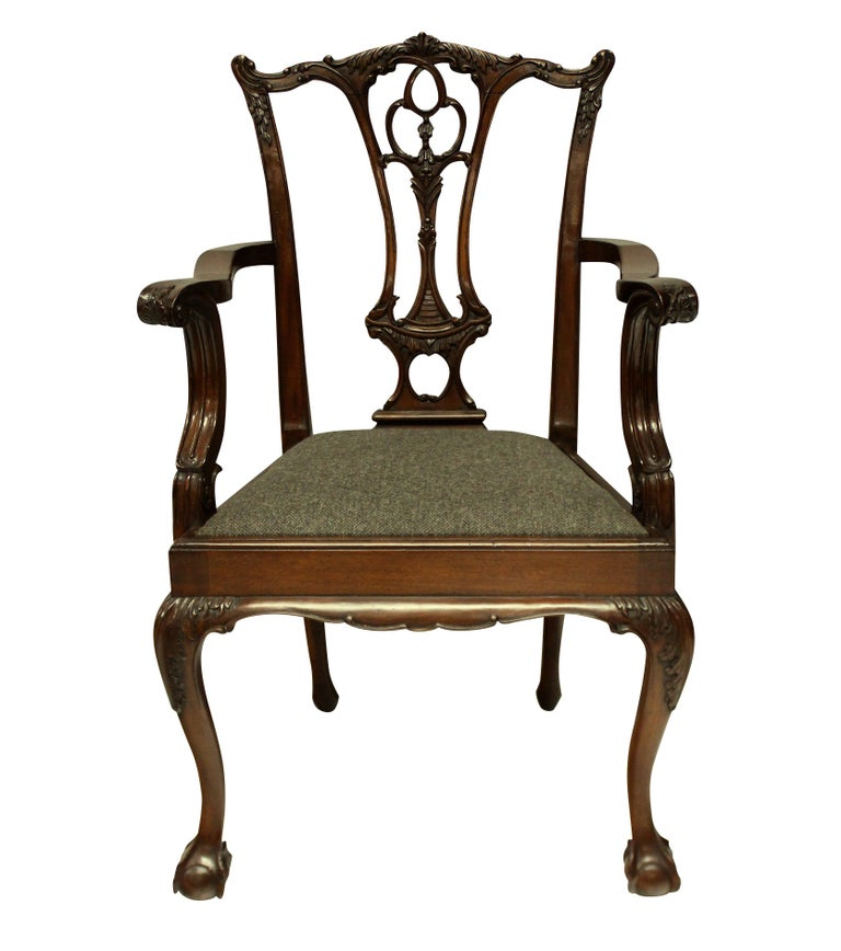 Set of Eight English Chippendale Style Carved Mahogany Dining Chairs 2