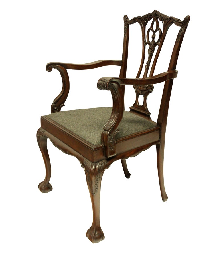 Set of Eight English Chippendale Style Carved Mahogany Dining Chairs 3