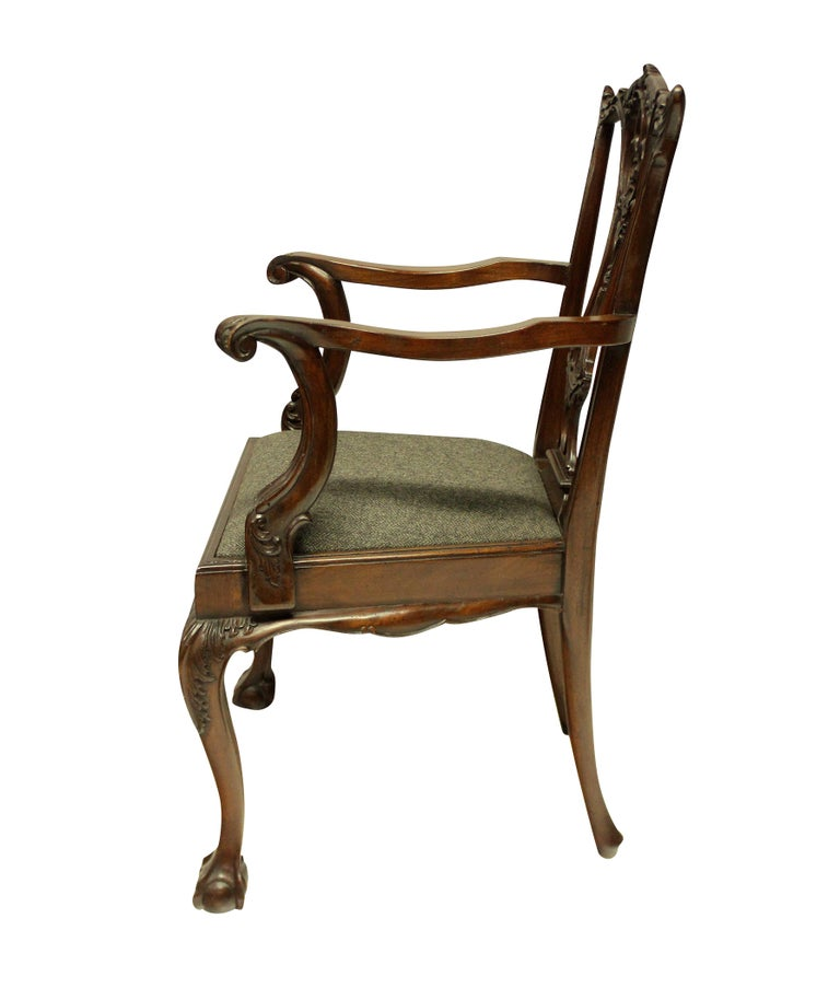 Set of Eight English Chippendale Style Carved Mahogany Dining Chairs 4