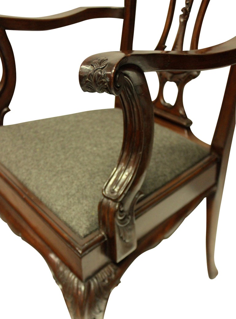 Set of Eight English Chippendale Style Carved Mahogany Dining Chairs 5