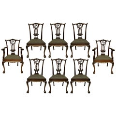 Set of Eight English Chippendale Style Carved Mahogany Dining Chairs