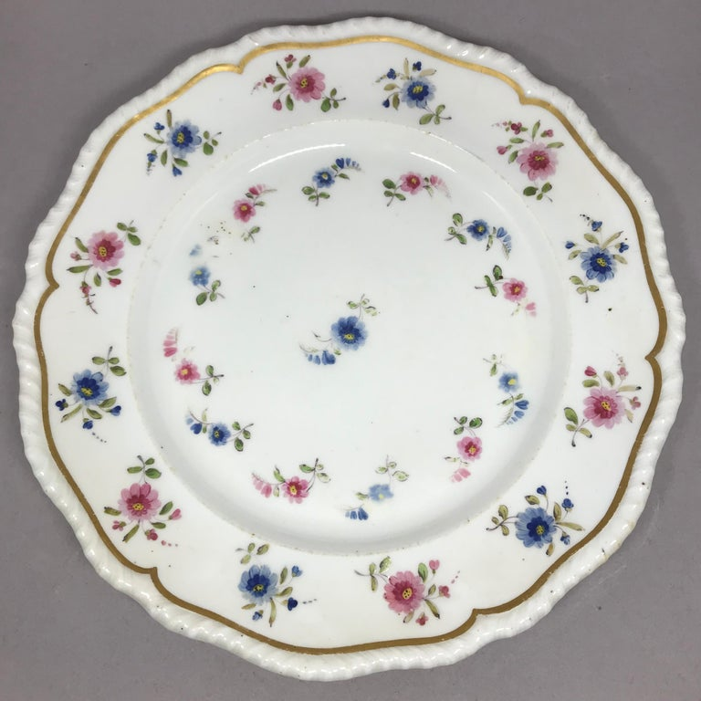 English Set of Eight Blue and Pink Floral Plates For Sale