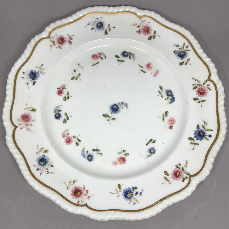 19th Century Set of Eight Blue and Pink Floral Plates For Sale