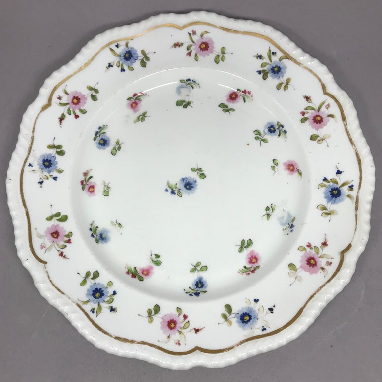 Set of Eight Blue and Pink Floral Plates For Sale 1