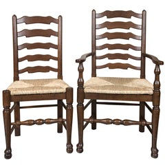 Custom Set of Eight English Oak Wavy Ladder Back Chairs with Rush Seats