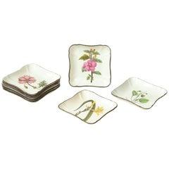 Set of Eight English Pearlware Botanical Square Dishes