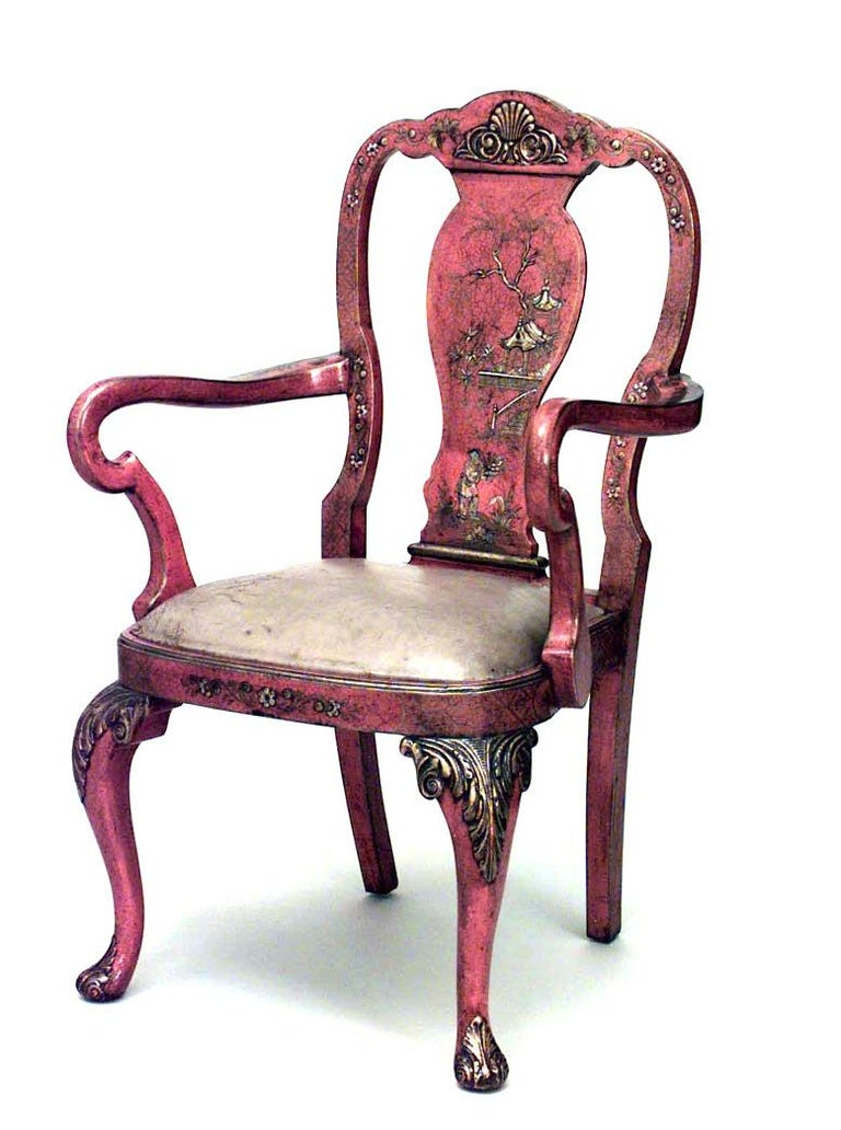 Set of eight English queen Anne style red lacquered chinoiserie dining chairs (manner of Giles Grendey, late 19th-20th century. Measures: Two armchairs: 24½
