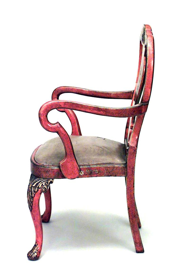 Lacquered Set of Eight English Queen Anne Style Chinoiserie Dining Chairs For Sale