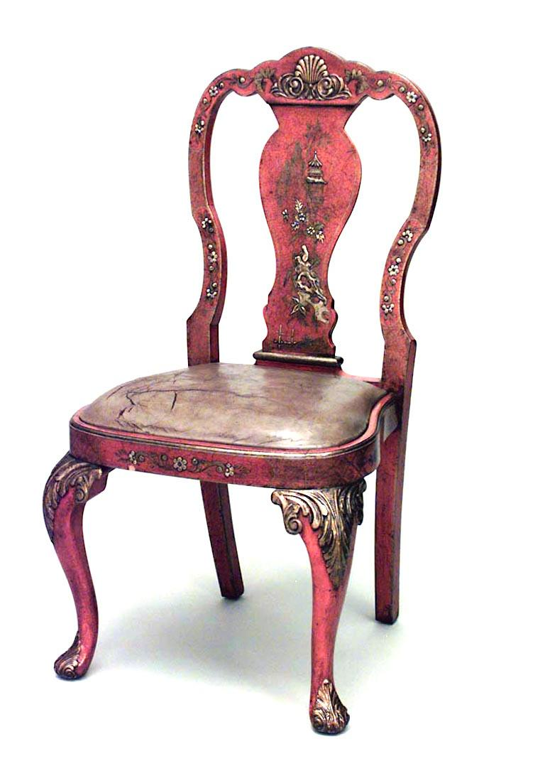 Wood Set of Eight English Queen Anne Style Chinoiserie Dining Chairs For Sale