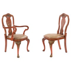 Set of Eight English Queen Anne Style Red Lacquer Chinoiserie Dining Chairs