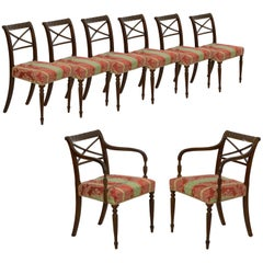 Set of Eight English Regency Carved Mahogany Antique Dining Chairs, circa 1810