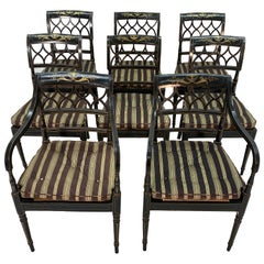 Set of Eight English Regency Ebonized Dining Chairs