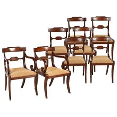 Set of Eight English Regency Klismos Style Mahogany Dining Chairs, circa 1830