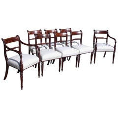 Set of Eight English Regency Mahogany Brass Inlaid Dining Room Chairs C. 1810