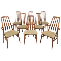 Set of Eight Eva High Back Dining Chairs in Rosewood by Niels Koefoed