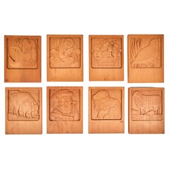 Set of Eight Evelyn Ackerman Carved Redwood Panels