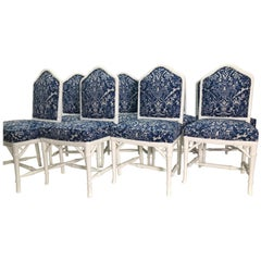 Set of Eight Faux Bamboo White Dinning Chairs with Ralph Lauren Upholstery