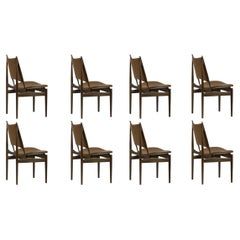 Set of Eight Finn Juhl Egypetian Chair in Wood and Leather