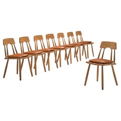 Set of Eight Finnish Dining Chairs in Oak with Leather Cushions