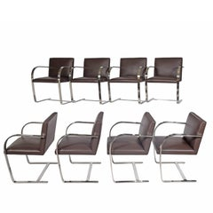 Set of Eight Flat Bar Brno Chairs by Mies van der Rohe for Knoll Inc.