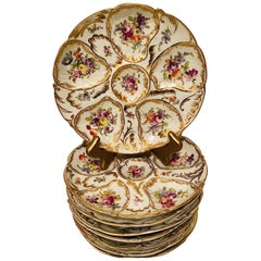Set of Eight Floral Fluted Dresden Oyster Plates, Each Hand Painted Differently