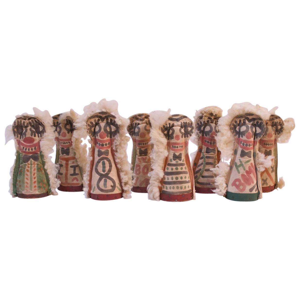 Set of Eight Folk Art Carnival Punks / Knockdown Dolls