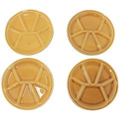 Set of Eight Fondue Plates, Gien Pottery, France