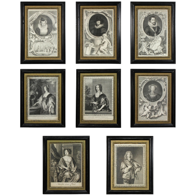 Set of Eight Framed Engravings of European Royalty