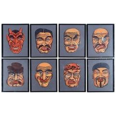 Set of Eight Framed Masks