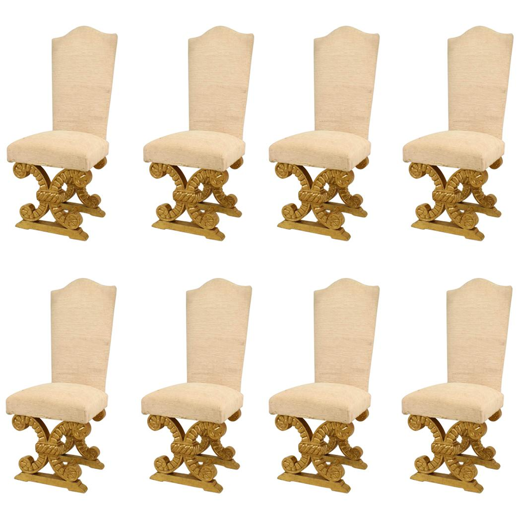 Set of Eight French 1940s Side Chairs