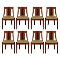 Set of Eight French 19th Century Empire Style Mahogany Side/Dining Chairs