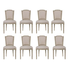 Set of Eight French 19th Century Louis XVI St. Patinated Dining Chairs