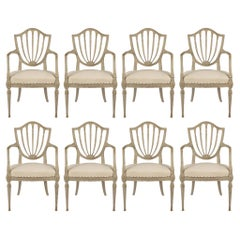 Set of Eight French 19th Century Louis XVI Style Patinated Dining Chairs