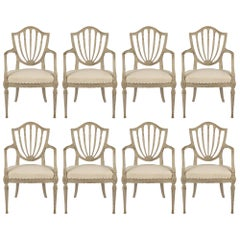 Set of Eight French 19th Century Louis XVI Style, Patinated Wood Dining Chairs
