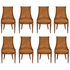 Set of Eight French 19th Century Neoclassical St. Walnut and Ormolu Side Chairs