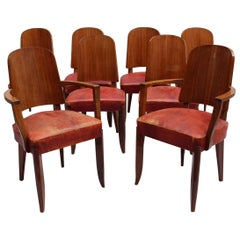 Set of Eight French Art Deco Palissander Chairs by Maxime Old