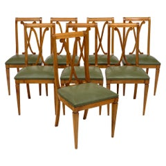 Set of Eight French Directoire Style Dining Chairs
