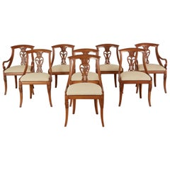 Set of Eight French Empire Style Gondola Dining Chairs