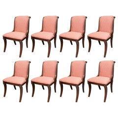 Set of Eight French Klismos Upholstered Dining Chairs