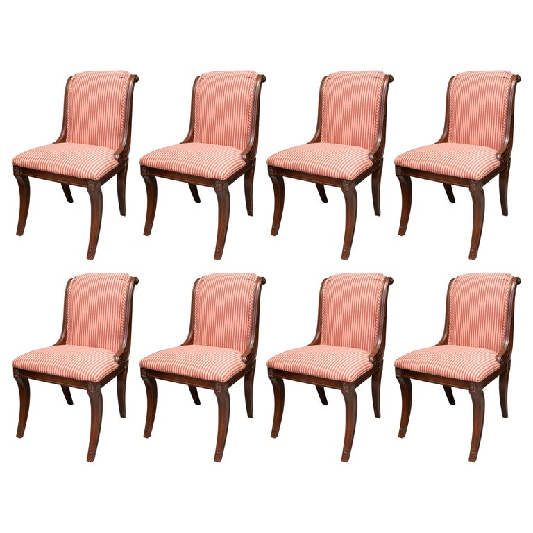 Set of Eight French Klismos Upholstered Dining Chairs For Sale