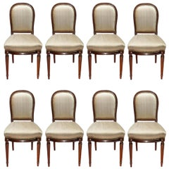 Set of Eight French Late 19th Century Louis XVI St. Solid Mahogany Side Chairs