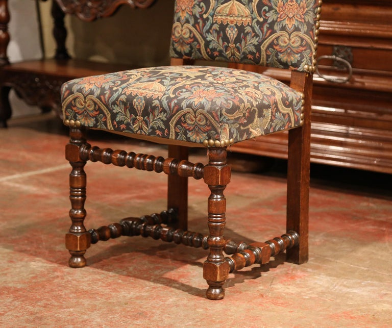 Dinette Chairs For Sale: Set Of Eight French Louis XIII Carved Walnut Dining Chairs