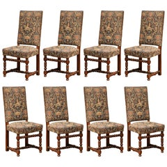 Set of Eight French Louis XIII Carved Walnut Dining Chairs with Tapestry