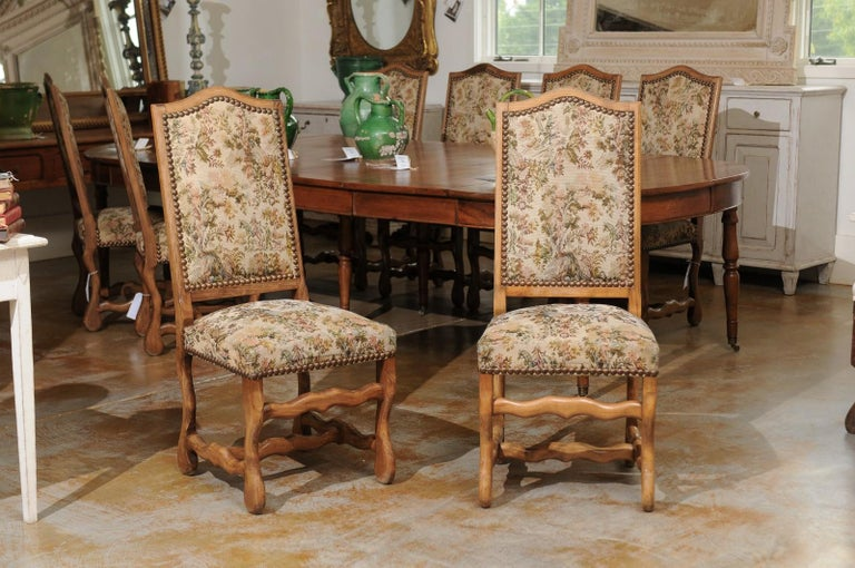 Set of Eight French Louis XIII Style Os de Mouton Dining Chairs with Tapestry In Good Condition For Sale In Atlanta, GA