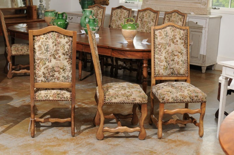 19th Century Set of Eight French Louis XIII Style Os de Mouton Dining Chairs with Tapestry For Sale