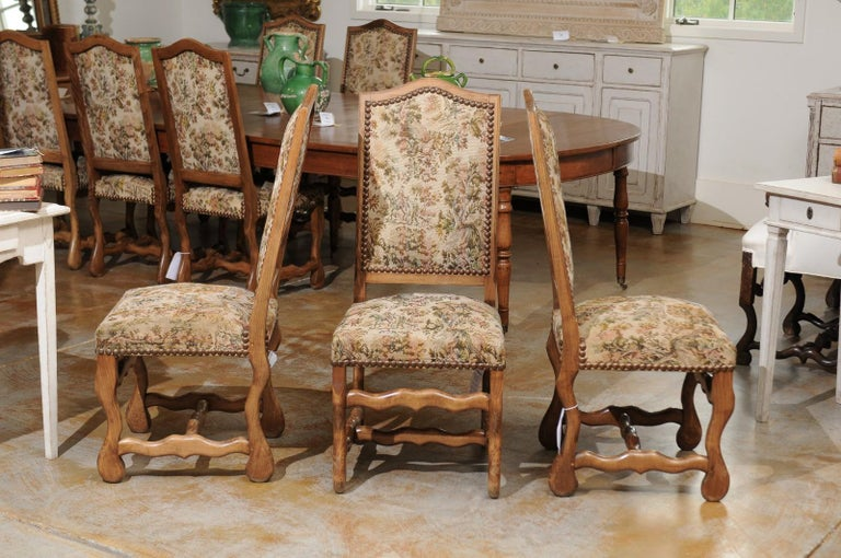 Set of Eight French Louis XIII Style Os de Mouton Dining Chairs with Tapestry For Sale 3