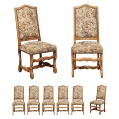 Set of Eight French Louis XIII Style Os de Mouton Dining Chairs with Tapestry